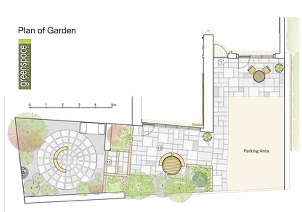 Greenspace Garden Design - Small Barn Courtyard Garden - Courtyard plan
