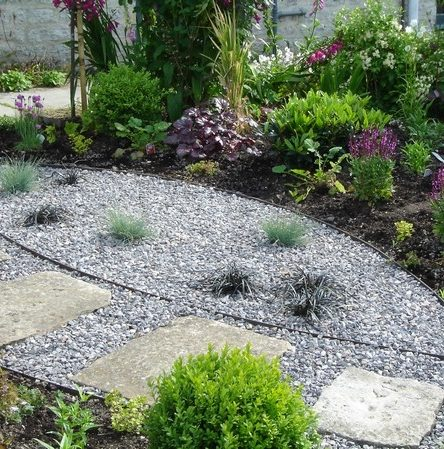 Country Garden Planting Design - Grasses in Gravel - Greenspace Garden Design